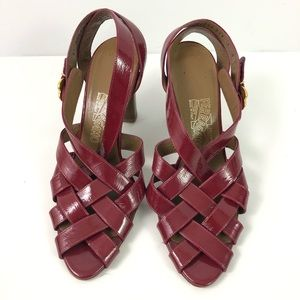6f2d93d9b848 SALVATORE FERRAGAMO Red Strappy Leather Sandal 7